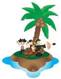 小组有古炮炮弹的小海盗在海岛上 免版税库存照片