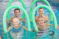 小组有游泳的资深人 免版税库存图片