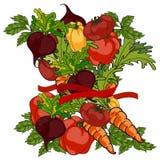 小组未加工的蔬菜 皇族释放例证