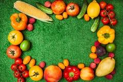 小组水果和蔬菜在backgro的一个圈子安排了 免版税库存照片