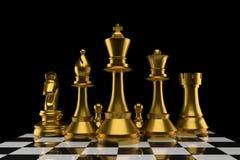 小组棋在金子颜色的在3D翻译 免版税库存照片