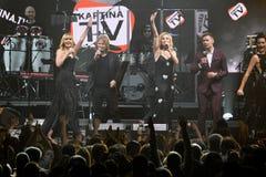 小组歌手在阶段执行在维克托Drobysh第50个年生日音乐会期间在巴克来中心 免版税库存照片
