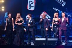 小组歌手在阶段执行在维克托Drobysh第50个年生日音乐会期间在巴克来中心 库存照片