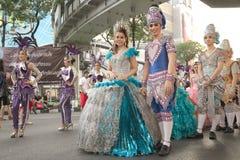 小组泰国传统剧烈的执行者 库存图片