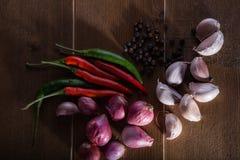 小组泰国食物调味料大蒜,青葱,辣椒,黑胡椒 免版税库存照片