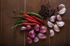 小组泰国食物调味料大蒜,青葱,辣椒,黑胡椒 免版税库存图片