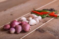 小组泰国食物调味料大蒜,青葱,辣椒,黑胡椒 库存照片
