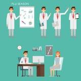 小组医生字符和医护人员 在平的设计的医疗队概念 Healfthcare概念 军医男性 库存例证