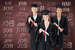 小组的综合图象庆祝在毕业以后的少年 库存照片