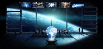 小组科学家观察行星地球3D翻译elem 免版税库存照片