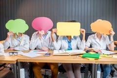 小组医科学生在教室 免版税库存照片