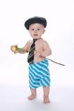 小滑稽的男孩与在白色起来了 免版税库存图片