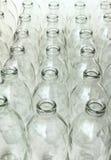 小组空的玻璃瓶 免版税库存照片