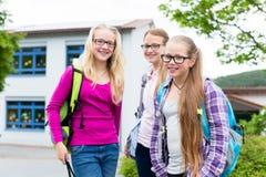 小组站立在学校的凹进处的学生 库存照片