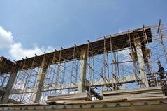 小组建筑工人制造的射线模板 库存照片