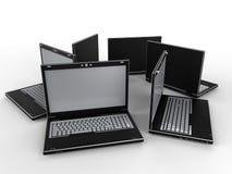 小组膝上型计算机-圆列阵 库存例证