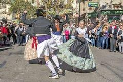小组舞蹈家在巴伦西亚,西班牙 库存照片