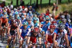 小组行动的骑自行车者 免版税库存图片