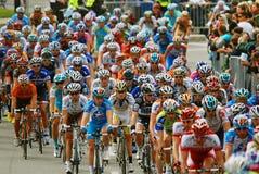 小组行动的骑自行车者 库存图片