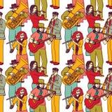 小组街道音乐家无缝的颜色样式 库存图片