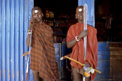 小组画象Maasai战士,肯尼亚 图库摄影