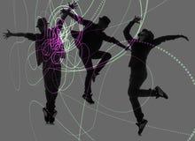 小组跳舞的抽象概念舞蹈家 库存图片