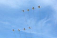 小组轰炸机图波列夫Tu22M3 (迎火) 免版税图库摄影