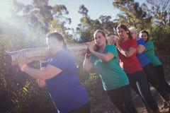 小组运载一本重的木日志的适合妇女在障碍桩训练期间 免版税图库摄影