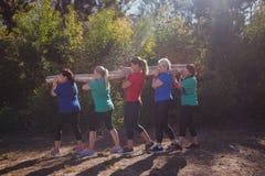 小组运载一本重的木日志的适合妇女在障碍桩训练期间 免版税库存照片