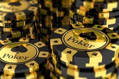 小组金纸牌筹码 向量例证