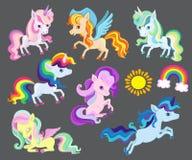 小组非常好的彩虹独角兽的例证 免版税库存照片