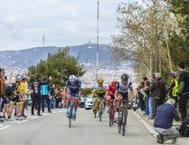 小组骑自行车者-游览de Catalunya 2016年 免版税库存照片
