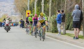 小组骑自行车者-游览de Catalunya 2016年 免版税库存图片