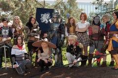 小组cosplayers在Animefest,芳香树脂大会摆在 免版税库存图片
