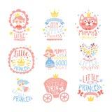 小Set的Of在桃红色和蓝色颜色的Prints For公主婴儿女孩室或衣物设计模板 免版税图库摄影