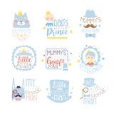 小Set的Of在桃红色和蓝色颜色的Prints For王子婴儿男孩室或衣物设计模板 库存照片