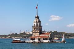 少女塔、蓝色清真寺和Haghia索菲娅 免版税图库摄影