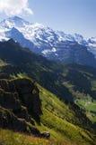 少女峰倾斜和瑞士谷 库存图片