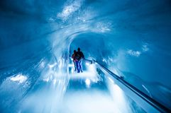 少女峰冰宫殿,在少女峰峰顶,瑞士下的冰洞 库存照片