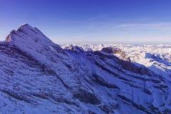 少女峰峰顶直升机视图在冬天 免版税图库摄影