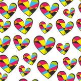 少女设计的心脏无缝的传染媒介样式 与明亮的心脏的少女印刷品在白色 库存例证