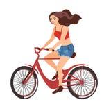 少女骑马红色自行车愉快的旁边外形视图 一个平的设计的传染媒介例证在白色背景的 库存例证