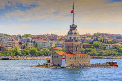 少女` s塔,伊斯坦布尔 免版税图库摄影