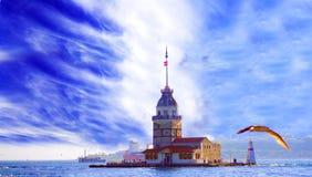 少女` s塔kiz kulesi在伊斯坦布尔 免版税库存照片