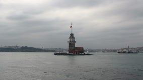 少女` s耸立,伊斯坦布尔市,土耳其12月2016年, 股票视频