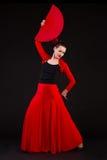 少妇与风扇的跳舞佛拉明柯舞曲 图库摄影