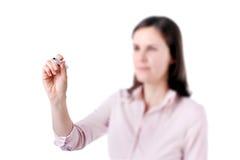 少妇企业文字某事,在白色背景隔绝的屏幕上。 库存图片