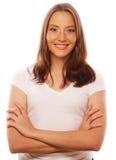 少妇佩带的白色T恤杉 免版税图库摄影