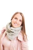 少妇佩带的秋天成套装备的画象 免版税库存照片
