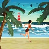 少妇参与海滩体育 女孩跑 免版税图库摄影